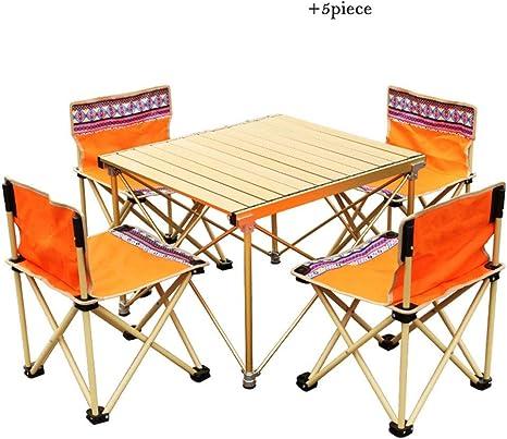 Liudan-Mesas Mesa y sillas Plegables de Playa para Acampar al Aire Libre Juego de Mesa y Silla de Picnic de Auto conducción de aleación de Aluminio - 5 Juegos (Color : Orange):