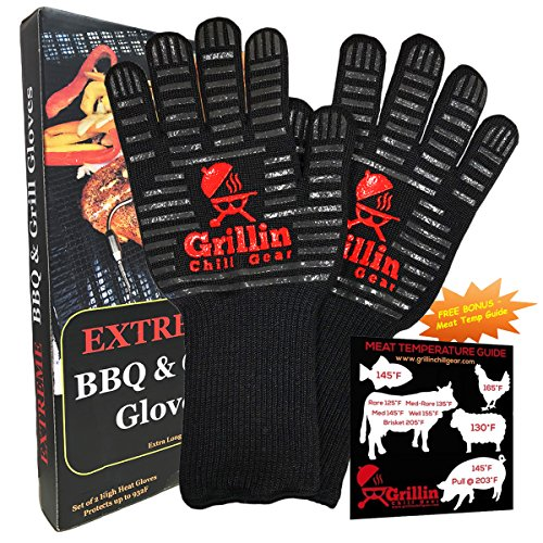 "Fireplace & BBQ Grilling Gloves by Grill & Chill - 932°F Extreme Heat Resistant Oven Mitts For Cooking, Baking, Frying, Barbecue - Best Forearm Protection (15"") - FREE Meat Smoking Temperature Guide"
