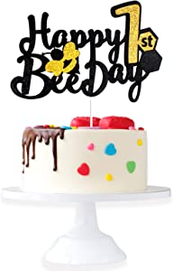 Happy 1st Bee Day Birthday Cake Topper - Wild One Gold Glitter Cake Décor - Spring Holidays Bumble Honey Bee Honeycomb Baby's First Barthday Party Decorations