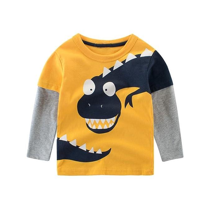 Yannerr Bebé niña niño manga larga Dibujos Dinosaurios empalme camiseta tops, Chico primavera Inferior blusa