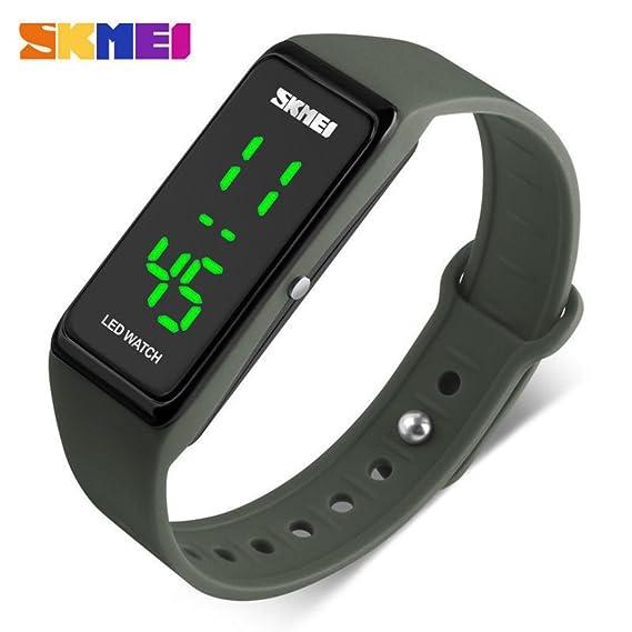 SKMEI Reloj de pulsera digital deportivo LED impermeable de 50 m para niños, niñas, hombres, mujeres, de silicona: Amazon.es: Relojes
