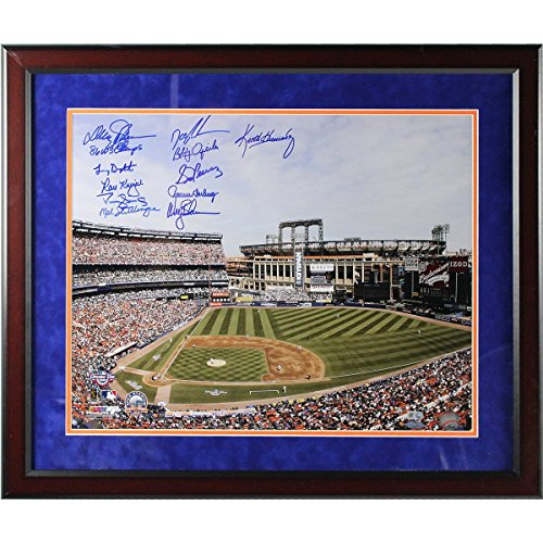 Shea Stadium Citi Field (1986 NY Mets 11 Signature Shea Stadium Framed Photo (w/Citi Field in Background) 16x20 Photo w/ 86 WS Champs insc by Johnson (MLB Auth) (Round Cherry Frame w/ Blue over Orange Matte))