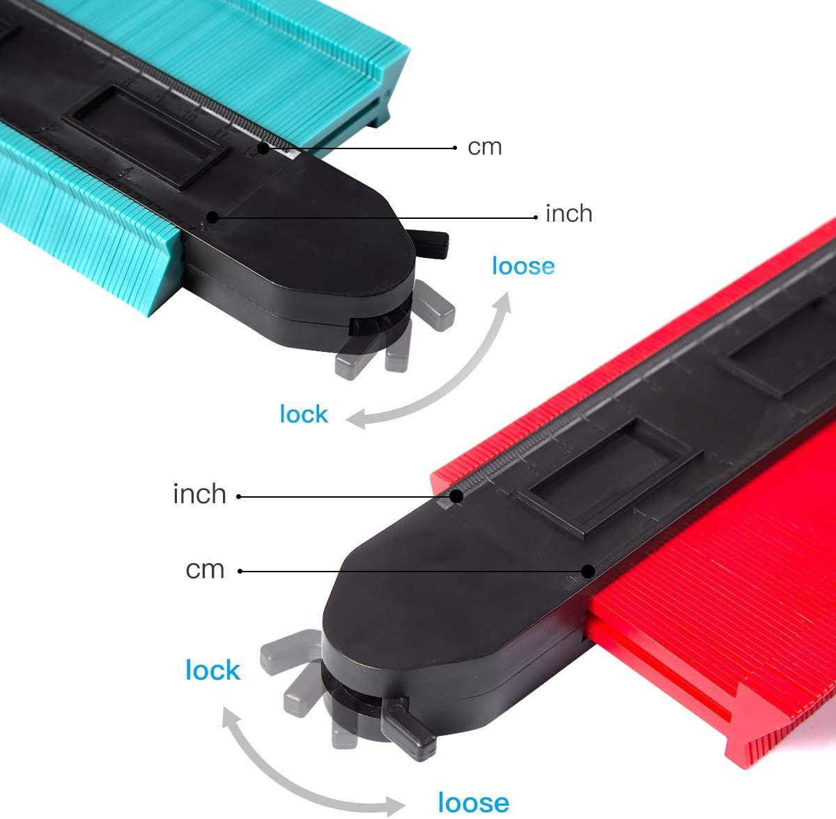 dispositivo de medici/ón con escala ideal para perfil irregular azulejos etc. Medidor de contornos con bloqueo 250 mm y 120 mm laminado herramienta duplicador grande