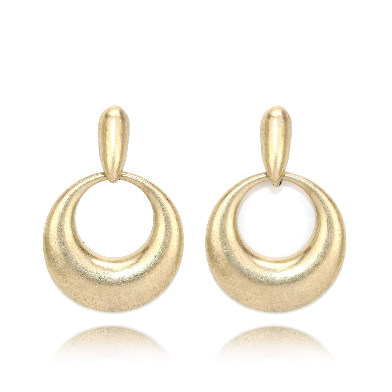Pomina Gold Doorknocker Post Drop Earrings
