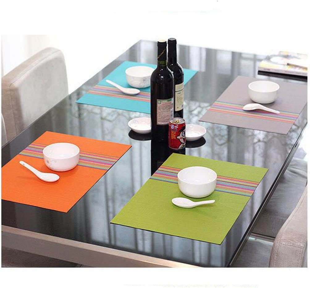 orange 30cm D-20015 FOOKREN Sets de Table Lot de 6,sets de Table Lavables PVC Placemats Dining Table Sets R/ésistant /à la Chaleur Antid/érapant Napperons 45