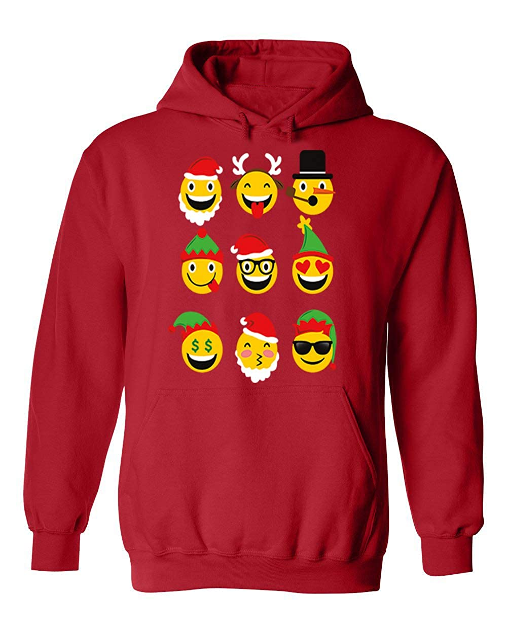 bbd3dd6804f1 Amazon.com  Ugly Christmas All Funny Emoji Faces Unisex Hoodie Hooded   Clothing