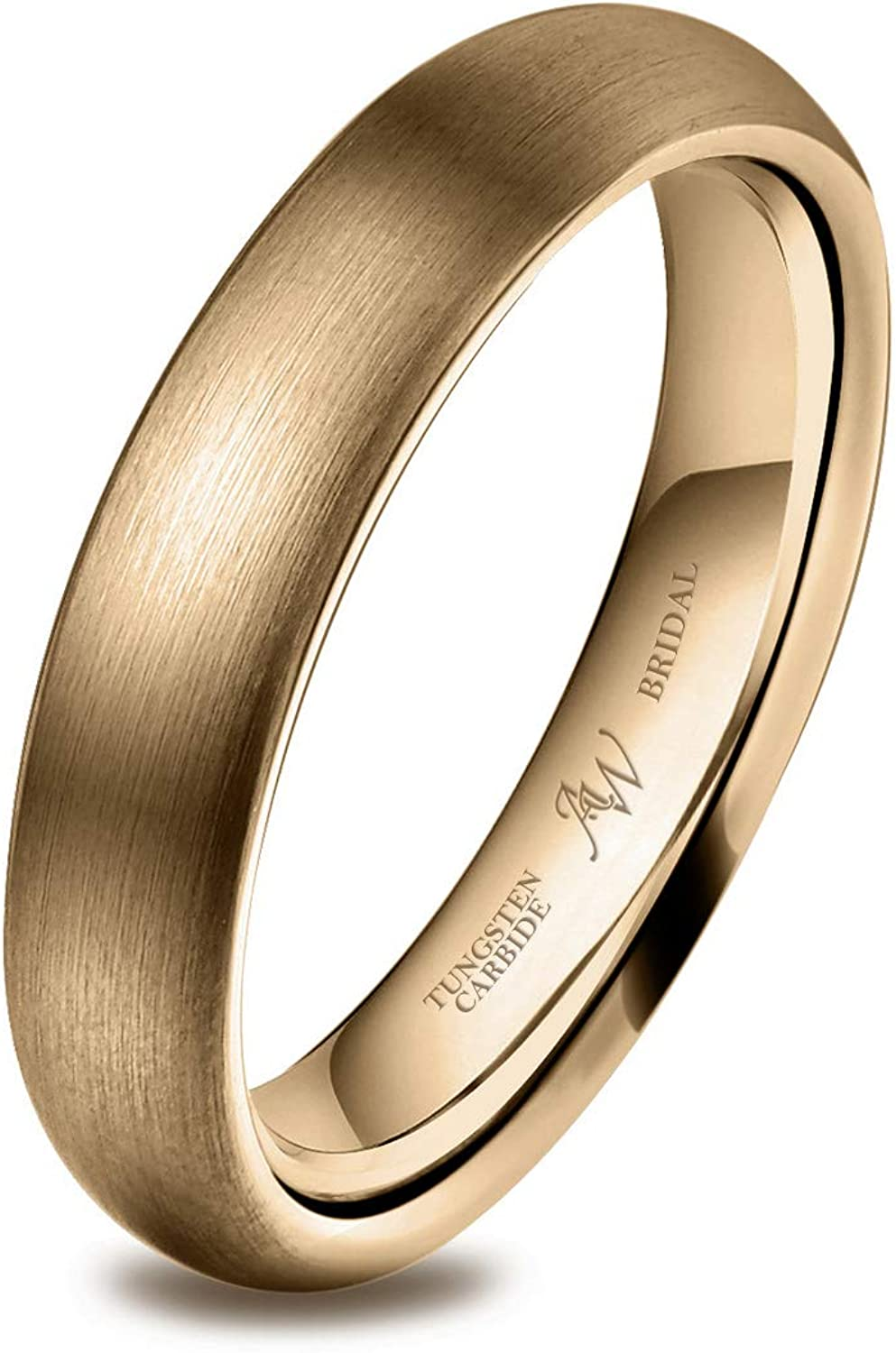 AW BRIDAL Tungsten Carbide Ring Wedding Band Engagement Ring, Silver/Rose Gold/Gold Wedding Ring, 2-8mm, Size 5-15