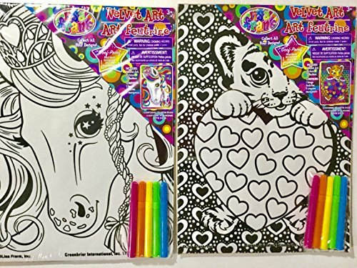 (Lisa Frank Velvet Art Animal Kits (2) Horse and Tiger Include Markers)