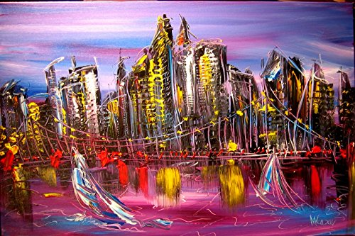 [Original Paintings Artwork New York Landscape Wine Still Life Cityscape Trees Music Jazz Hearts Pop Art Modern Contemporary Gallery Wall Decor Canvas Abstract Art for Sale By Artist Mark Kazav Ready to Display Palette Knife Texture Impressionist Fine Art Gallery Red Blue Black Green Earthy Wall Decor] (Contemporary Modern Palette)