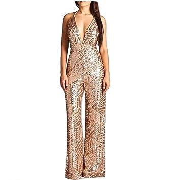 b7e648466d3 Amazon.com  Prima DND Studio Sequin Wide Leg Jumpsuit  Clothing