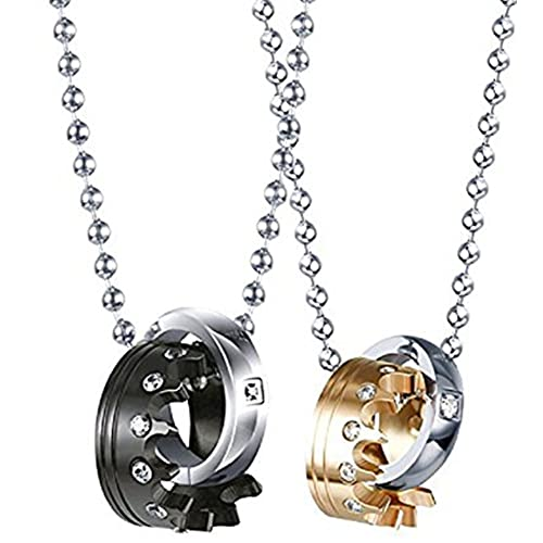 651dc14e36 EverMarker Couples Necklace Crown Ring Pendant Necklaces for Lover His and Hers  Necklace Titanium Steel Crystal Royal Chains Set (Black and Gold) | Amazon.  ...