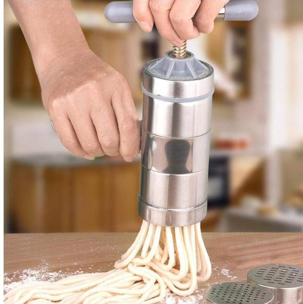 Beito Manuelle K/üche Teigwaren-Nudel-Maschine Spaghetti-Maschine Nudelpresse mit 5 Moulds