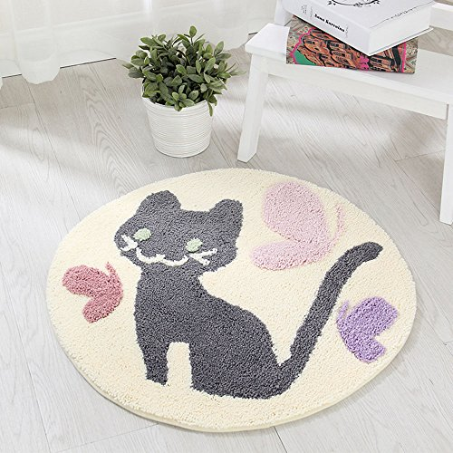 SANNIX Super Soft Cat Area Rug Bath Mat Microfiber Shag Bathroom Rugs Non Slip Absorbent Fast Drying Bathroom Carpet Shower Rug-(Cat,35.5