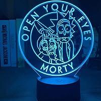 Caixy 3D nachtlampje, 7 kleurwisselende leds, driedimensionaal Rick en Morty model, tafellamp, animatie, wooncultuur…