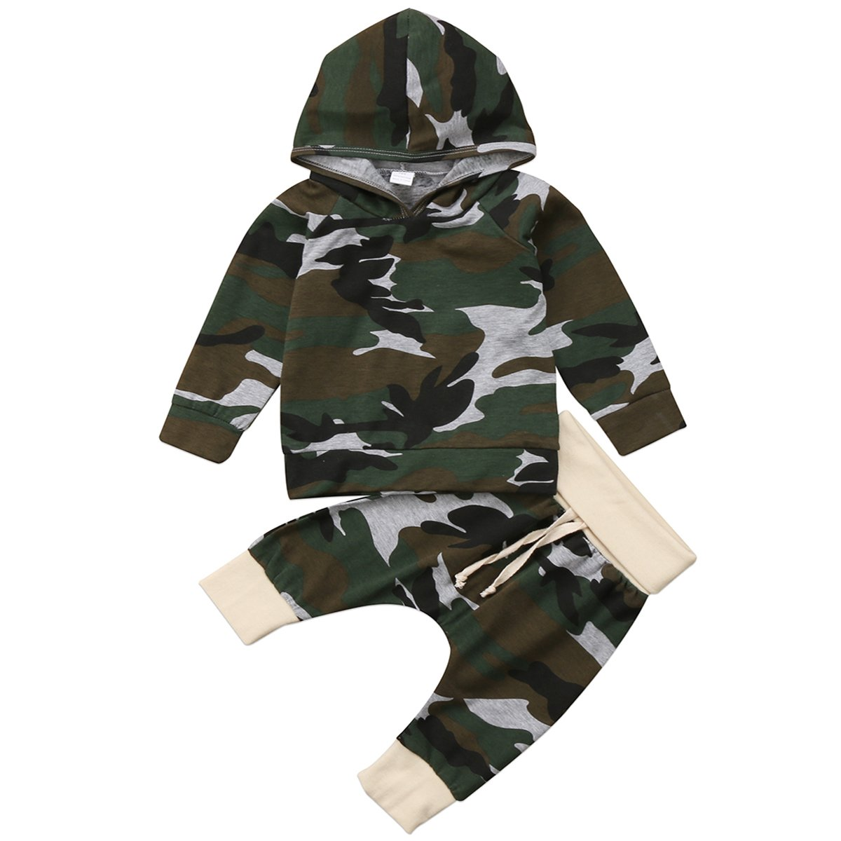 Annvivi Infant Baby Boys Camouflage Hoodie Tops +Long Pants Outfits Set Clothes 0-24M