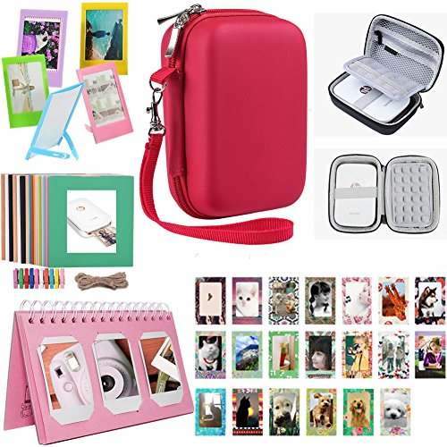 Katia Printer Accessories Bundle set for HP Sprocket Portable Photo Printer, X7N07A, Print Social Media Photos on 2x3 Sticky with Hard Shell Case, Calendar Album, Frames, 2x3 Stickers - Red