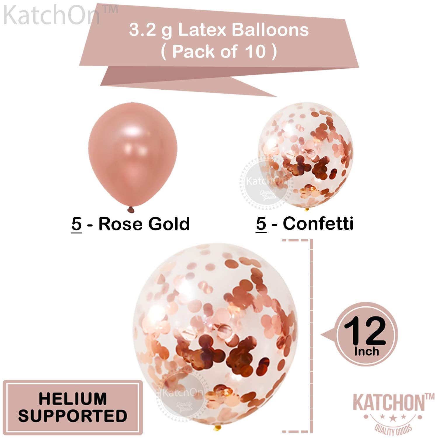 Pack of 12 Real Rose Gold Party Supplies Large Mylar Foil Balloon and Confetti Latex Balloons Rose Gold 25th Birthday Decorations Home Office Decor KatchOn Great for 25 Years Wedding Anniversary