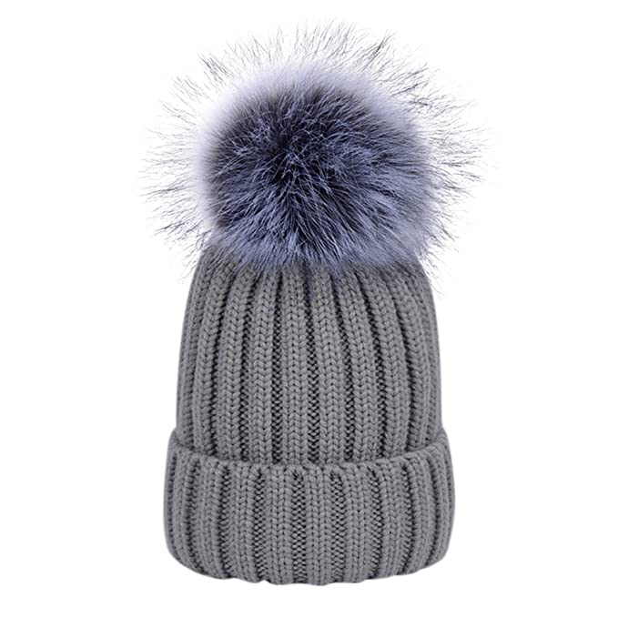 3b9a786291001 Dikoaina Womens Girls Winter Fur Hat Large Faux Fur Pom Pom Slouchy Beanie  Hats