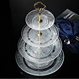 4-tier Round Glass Wedding Cake Stand Cupcake Tree for Wedding Cupcakes Dessert Tower Cupcake Stand for Party Cupcakes and Other Desserts/ Elegant Tea Party Serving Platter