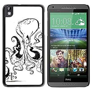 GOODTHINGS Funda Imagen Diseño Carcasa Tapa Trasera Negro Cover Skin Case para HTC DESIRE 816 - pulpo negro blanco criatura marina