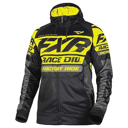 FXR Mens Race Division Tech Hoodie (Black/Hi Vis, Medium)