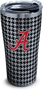 Tervis 1314702 Alabama Crimson Tide Houndstooth Stainless Steel Insulated Tumbler with Clear and Black Hammer Lid, 20oz, Silver