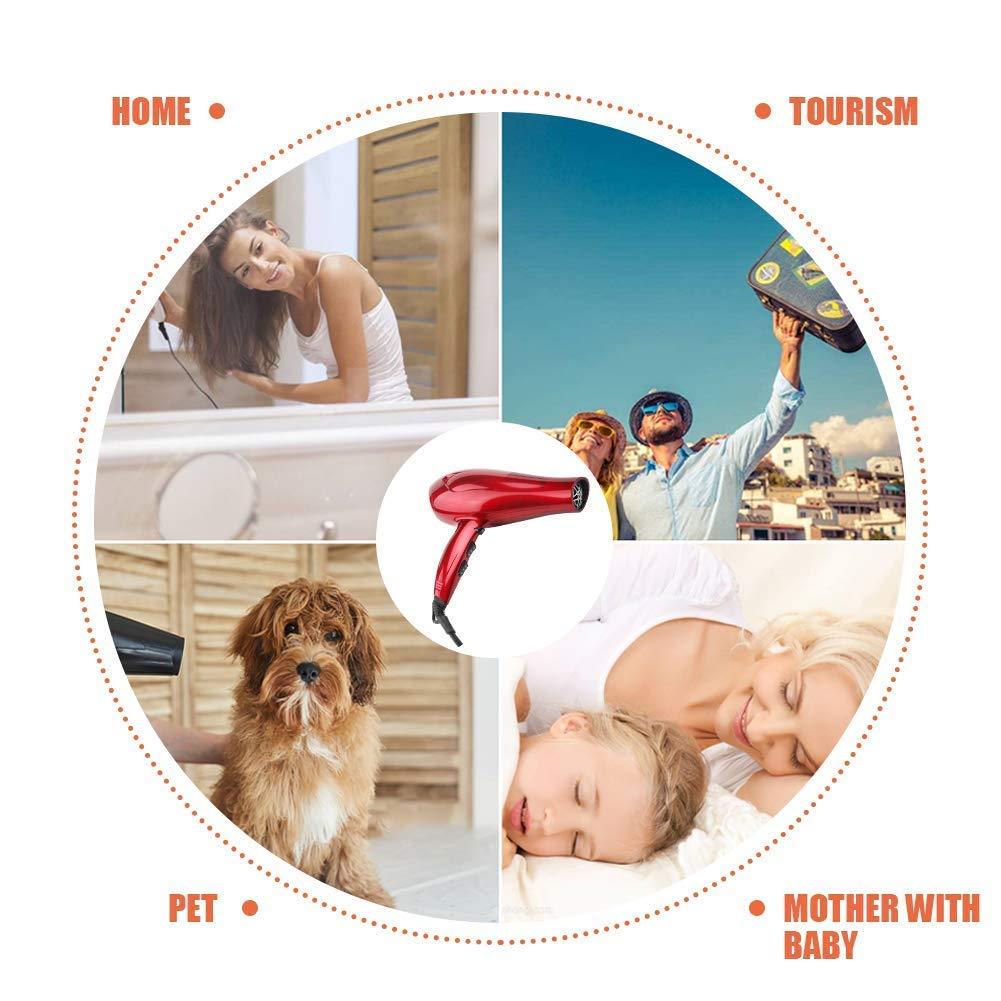 wazor rojo color secador de pelo iones negativos secador 1800 W DC Motor velocidad de 2 y 3 ajustes de calor estándar del Reino Unido Plug: Amazon.es: ...