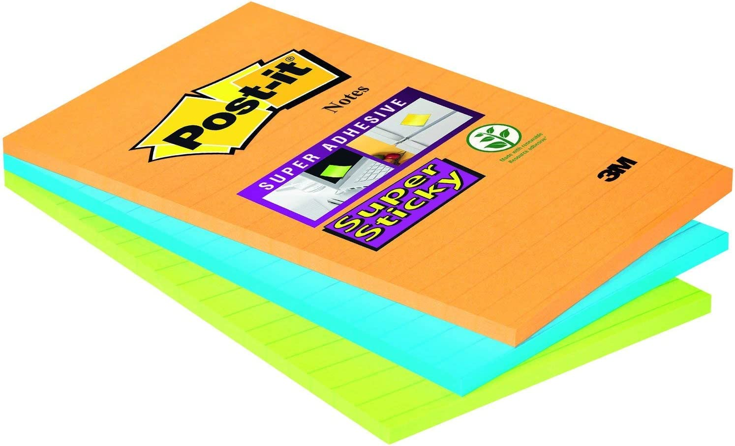 Post-it Super Sticky Notes Lined Ultra Colours 45 Sheets Per Pack of 3 Pads