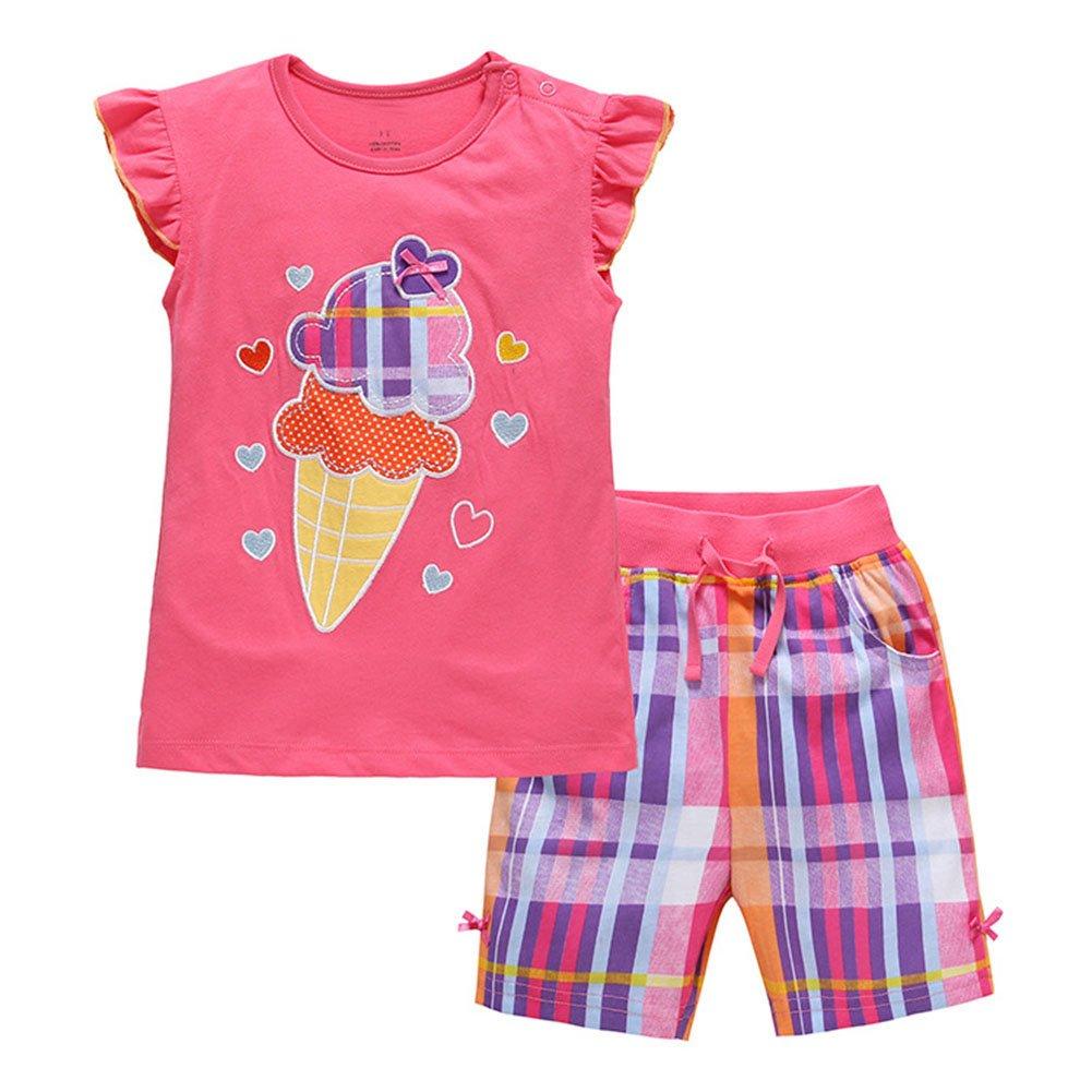 Jobakids Little Girls Short Set Summer Cotton Clothing set,Red,3T