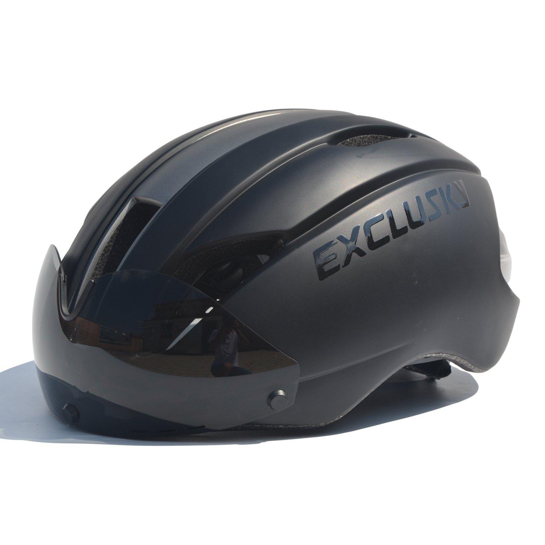 Exclusky In Mould Casco de Ciclismo para Adultos Bici Deportes con Gafas
