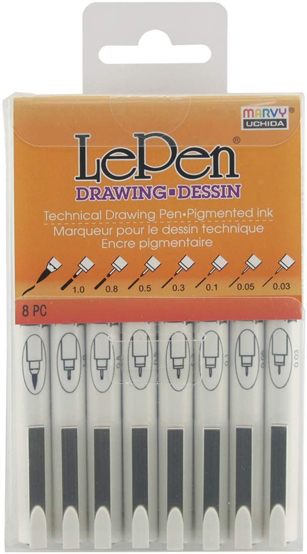 Uchida 4100-8A Le Pen Technical Pen - Pack of 8