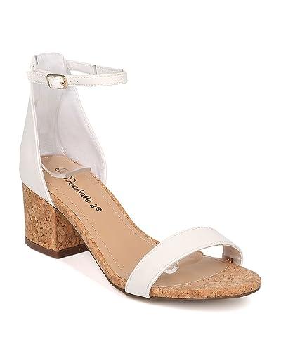 92fef038d1f Women Cork Block Heel Sandal - Ankle Strap Sandal - Minimalist Low Heel  Sandal - HK32 By Breckelles