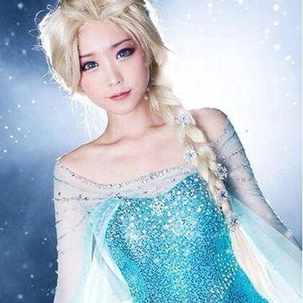 Peluca para disfraz de Frozen para mujer y niño