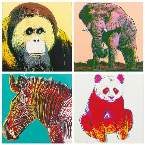 NAVA 4pcs Pop Art Andy Warhol Endangered Animal Panda Elephant Zebra Canvas Poster