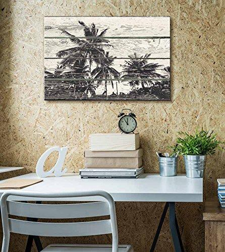 Palm Tree Woodcut Print Artwork Rustic