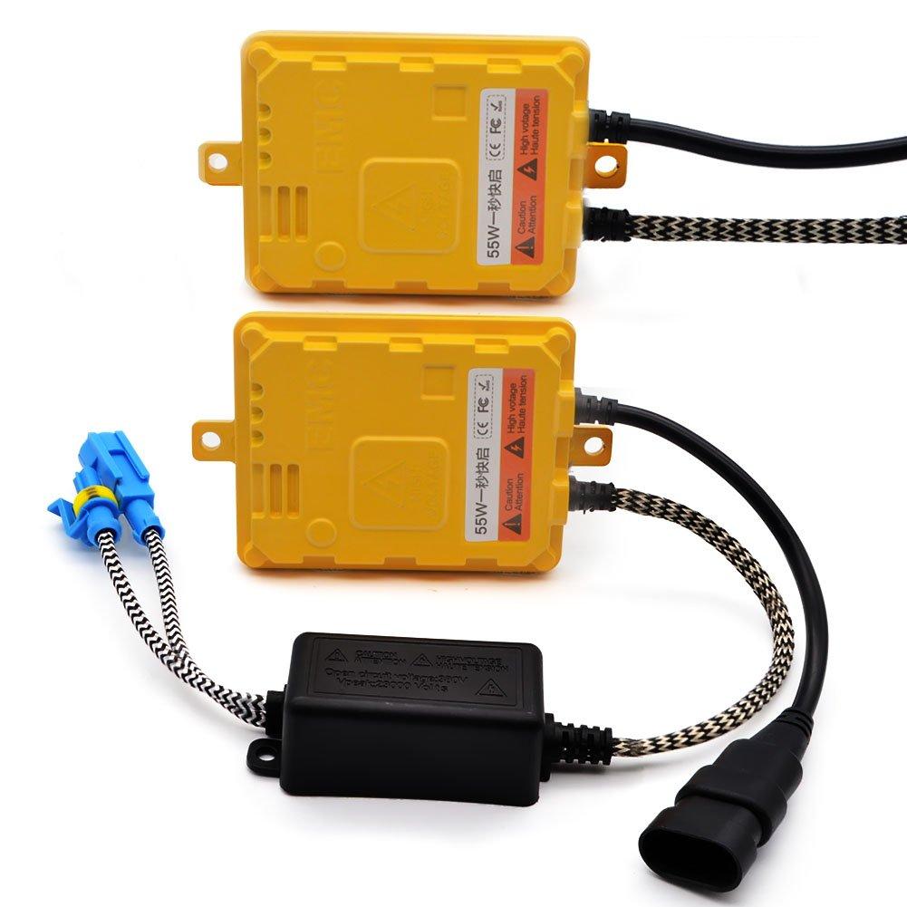 Safego 12V 55W Xenon HID Ballast Slim Fast Bright Replacement HID Xenon Cenversion Headlight Yellow Color (Pack of 2) BLA1255-K35R75MM-2