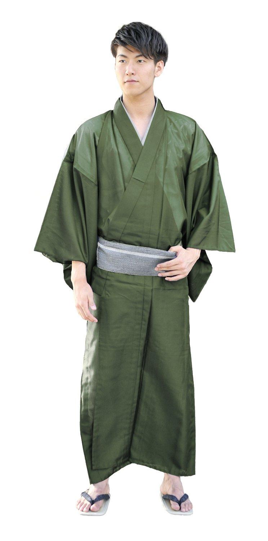 KYOETSU Men's Japanese Kimono Komaro Summer Washable (Small, Olive)