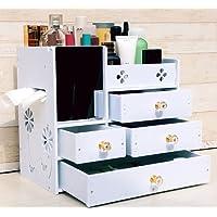 Alexzh Tipo di cassetto grande creativo di plastica della scatola di immagazzinaggio dei cosmetici di plastica con il caso cosmetico dello specchio