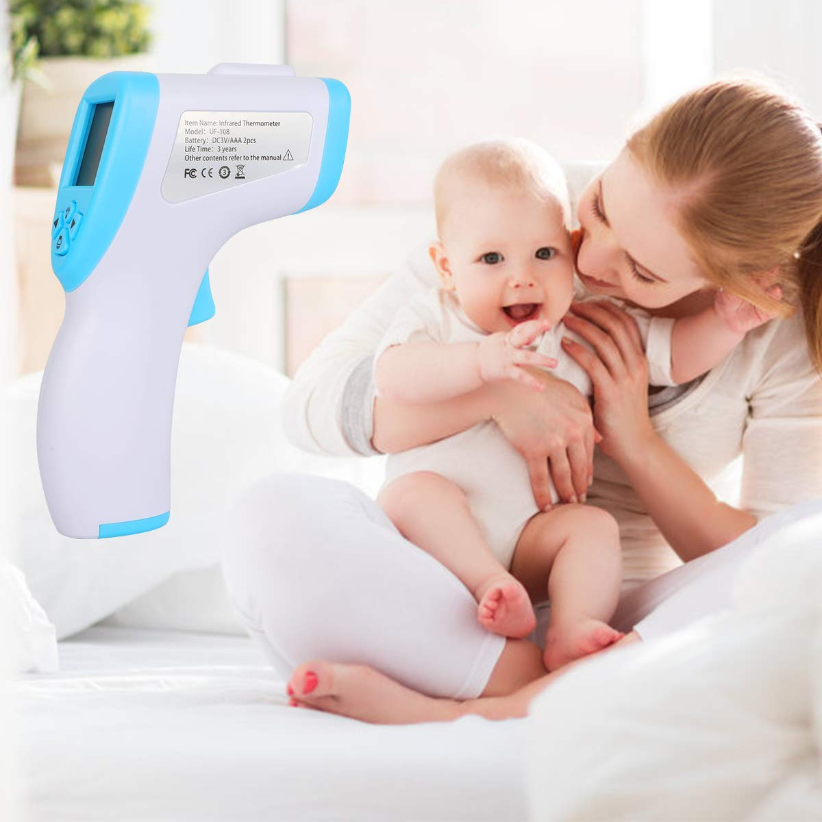 ˚F Adjustable No-Touch Thermometer Infrared Thermometer Digital Thermometer Forehead Professional Precision Digital Medical Infrared Thermometer for Baby and Adult Forehead Thermometer ˚C