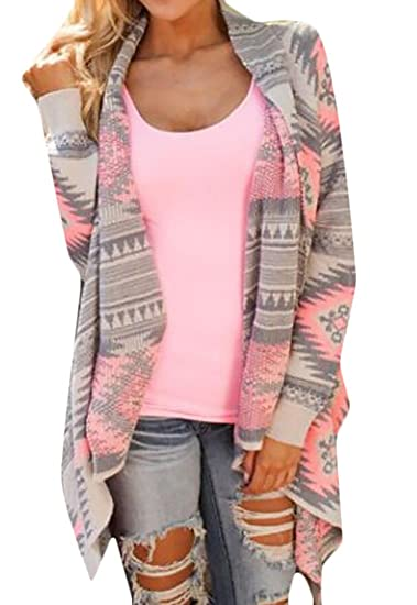 ab7846c26fb SYTX Womens Geometric Long Sleeve Open Front Cardigan Sweater at Amazon  Women s Clothing store