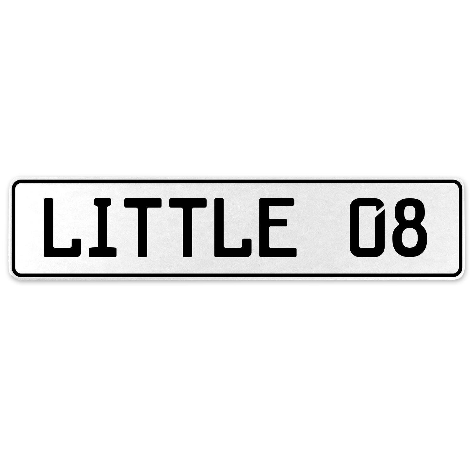 Vintage Parts 556288 Little 08 White Stamped Aluminum European License Plate