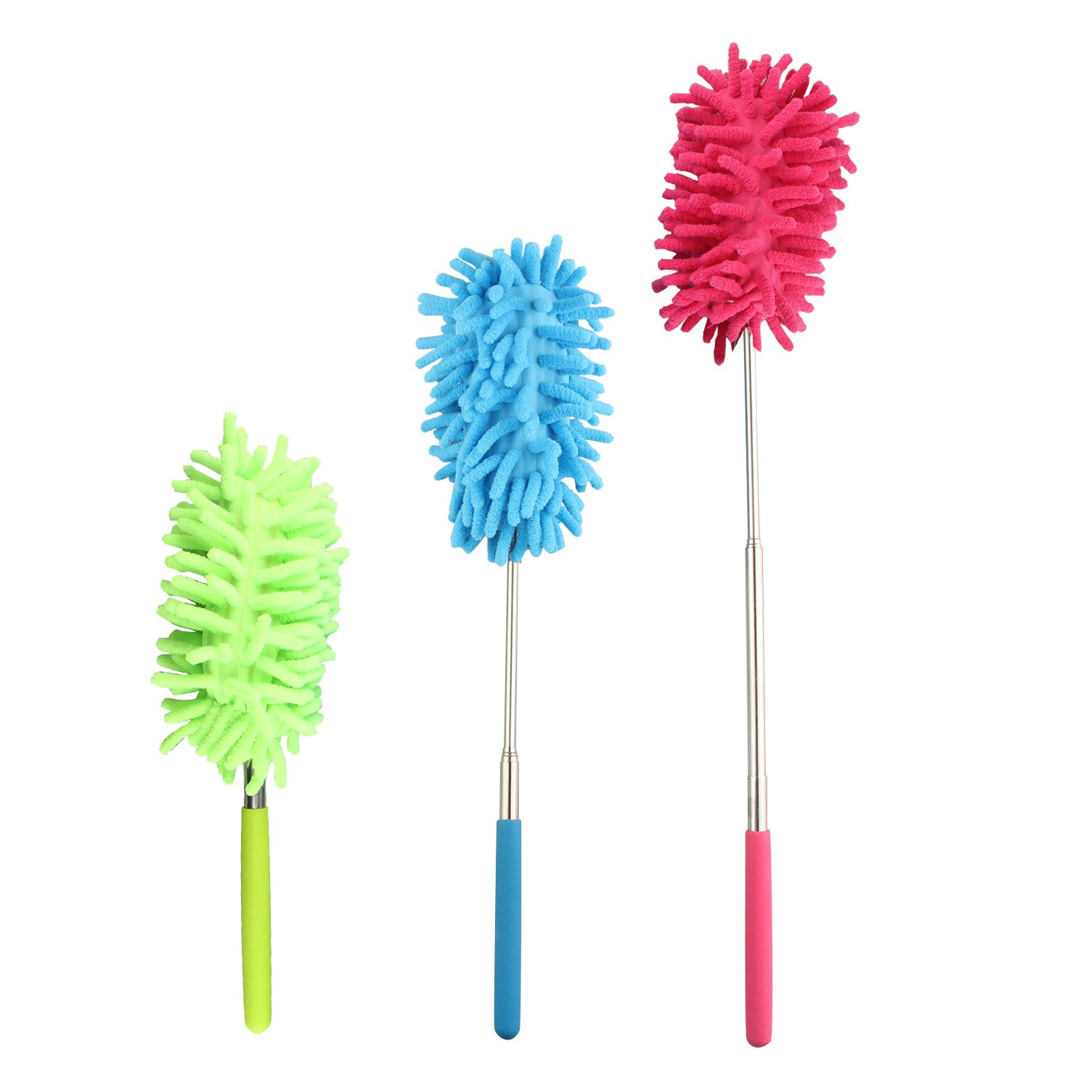 3PCS Microfibre Cleaning Duster Feather Style Extending Brush with Extendable Pole, Washable Duster Head 3 Color Choice for Home, Office, Car FUSD