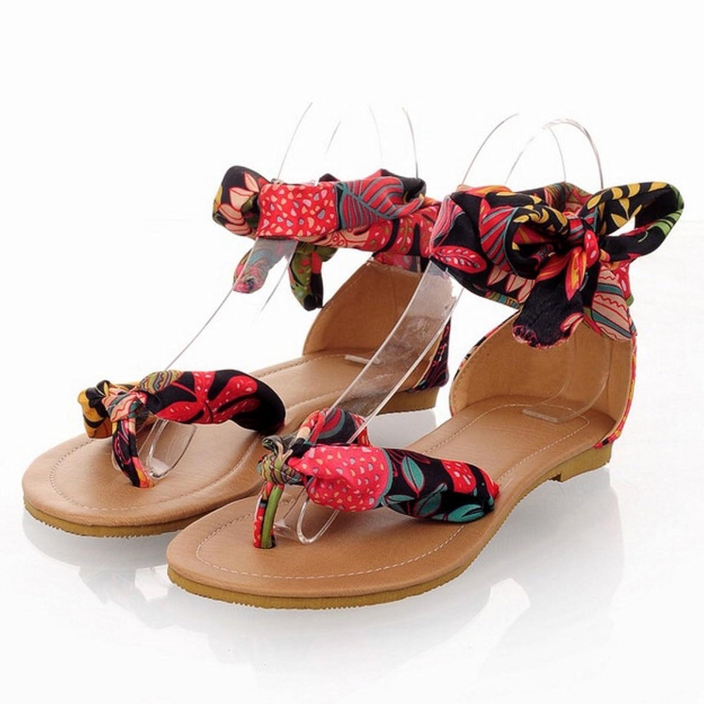 TAOFFEN Women Floral Cloth Flip-Flops Lace Ankle Ribbon Wrap Flat Sandals:  Amazon.co.uk: Shoes & Bags