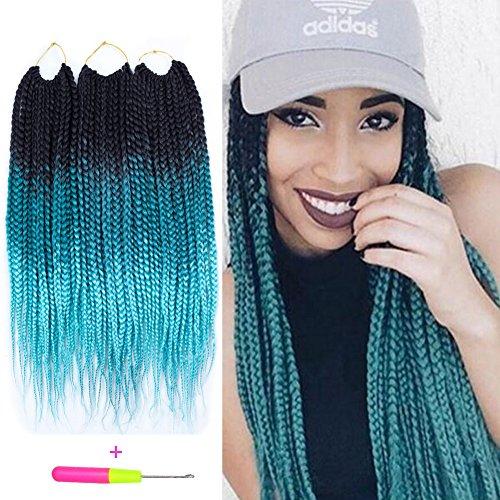 Box Braids Crochet Hair Extensions 120g 20Roots/pcs Kanekalon Three Tone Ombre Braiding Hair Synthetic Crochet Jumbo Box Braids (18 inch 3 pcs, 1b/green/light green)