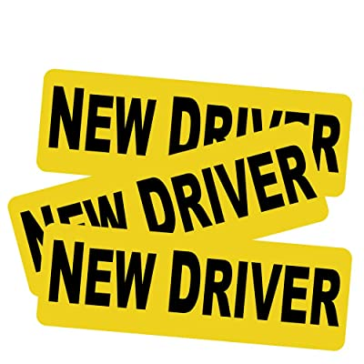 """3pcs New Driver Vehicle Car Bumper Sticker Decal Safety Sign 9""""x3"""" Black Block Lettering on Neon Yellow Background One for Each Side and The Rear: Industrial & Scientific"""