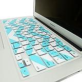 "TopCase Chevron Zig-Zag Silicone Keyboard Cover Skin for Macbook Air 13"" Model: A1466 + Topcase Chevron Mouse Pad (Macbook Air 13"" Model: A1466, White n Hot Blue)"