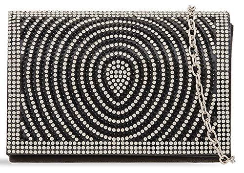 Evening Designer Clutch Ring Jewel Soft Black Shine Ladies Bag You 0q7ZYx0d