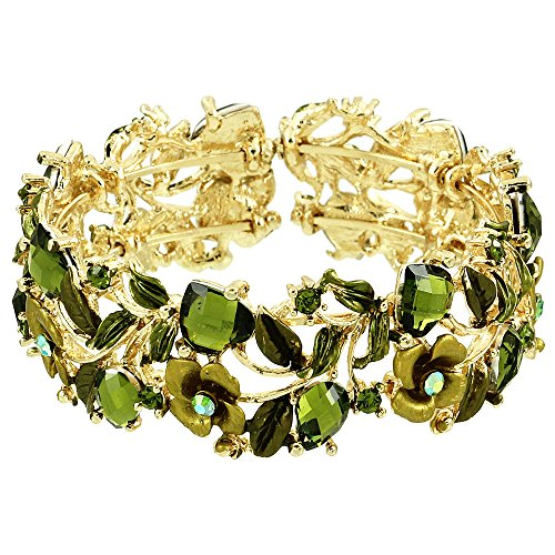 Falari Vintage Flower Bracelet Bangle Crystal Beads Hand-Painted Green BG401-GGN