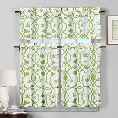 Duck River Textile Dawn Faux Linen Floral 3 Piece Kitchen Window Curtain Tier & Valance Set, 2 29 x 36 & One 58 x 15, Apple Green