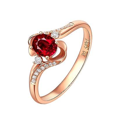 Anniversario Matrimonio Rubino.Donna 18k Oro Rosa Anello 0 5ct Ovale Forma Rubino Diamante Anello
